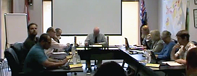 The Current's complete video record of the Tuesday, July 28, Council meeting is now online. Mayor Mark McKee and Council received presentation by Robyn Hooper of the Columbia Shuswap Invasive Species Society and Social Development Coordinator Jill Zacharias. They also pecked away at the long-delayed Backyard Chicken Bylaw and discussed aspects of the potential highway development project that is inching its way closer to full-blown construction mode as well as a number of other issues of local concern. Revelstoke Current screen shot