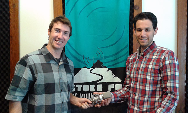 Stoke FM founder Scott Duke (left) is stepping down as the station's director and is passing the microphone to newcomer Mike Murphy. A newcomer to Revelstoke from Brampton, Ontario, Murphy takes over as station director on October 1. Photo courtesy of Stoke FM