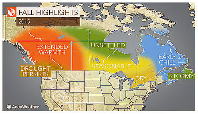 Warm and generally dry weather will continue to dominate much of western Canada into the fall, bringing little in the way of relief to areas dealing with drought and high wildfire danger. Weather man curtesy of AccuWeather.com