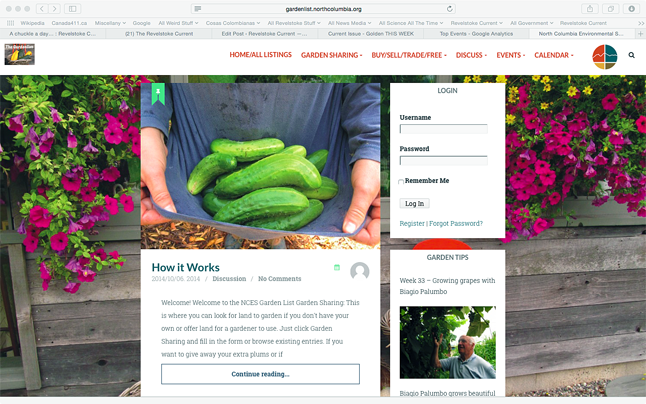 Have you ever wanted to share information about gardens or ask questions about gardening problems but didn't know who to ask? The Local Food Initiative, with the North Columbia Environmental Society, has recently created the Gardenlist website – kind of a Stoke List for gardeners. Revelstoke Current screenshot