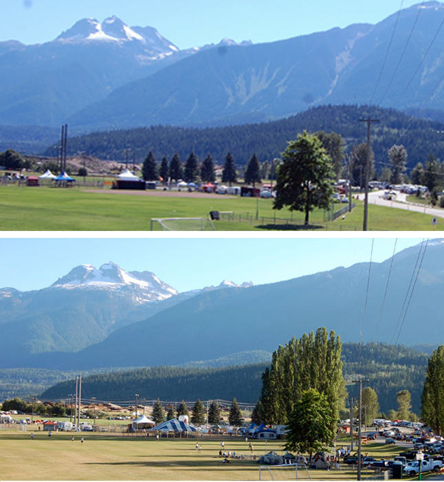 What a difference five years make! The ball diamonds at Centennial Park were definitely greener this year (top) but there were way more teams here in 2010: 126 (bottom photo) compared to 63 this past BC Day long weekend. David F. Rooney photos