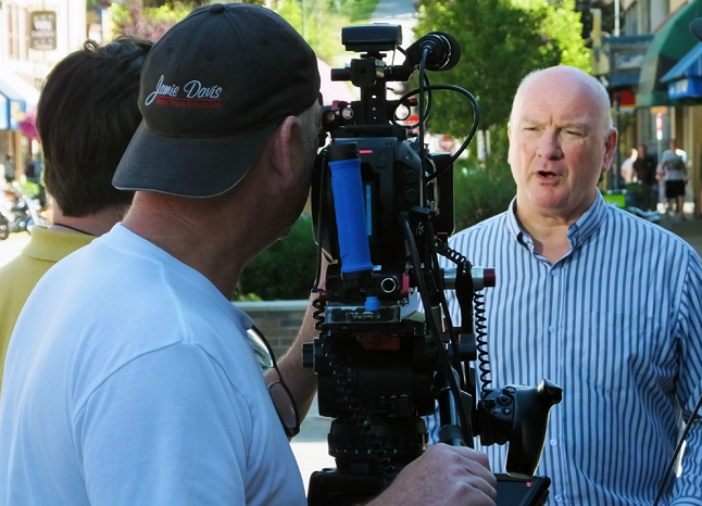 Mayor Mark McKee talks on camera for a BC Ministry of Transportation camera crew on Friday, August 7. We're not sure what this was in aid of and His Worship could not be reached for comment. Bob Gardali photo