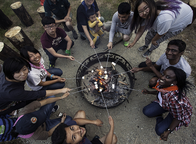 This Parks Day event on top of Mount Revelstoke was an introduction to Canadian camping traditions, like roasting marshmallows. Rob Buchanan photo courtesy of Parks Canada