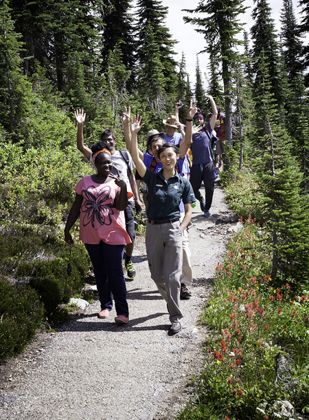 Alana Jung led people on a hike to see the flowers, which bloomed somewhat early this year. Rob Buchanan photo courtesy of Parks Canada