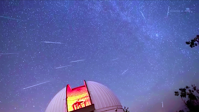 Earth is entering a stream of debris from Comet Swift-Tuttle, source of the annual Perseid meteor shower. Forecasters expect meteor rates to peak at 100+ per hour on the night of August 12-13 when our planet passes through the heart of the debris stream. Image courtesy of NASA