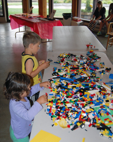 Alex and Ava Follick of Regina, Saskatchewan, enjoyed the Lego put out for kids during Family Day at the Railway Museum on Saturday, August 15. David F. Rooney photo