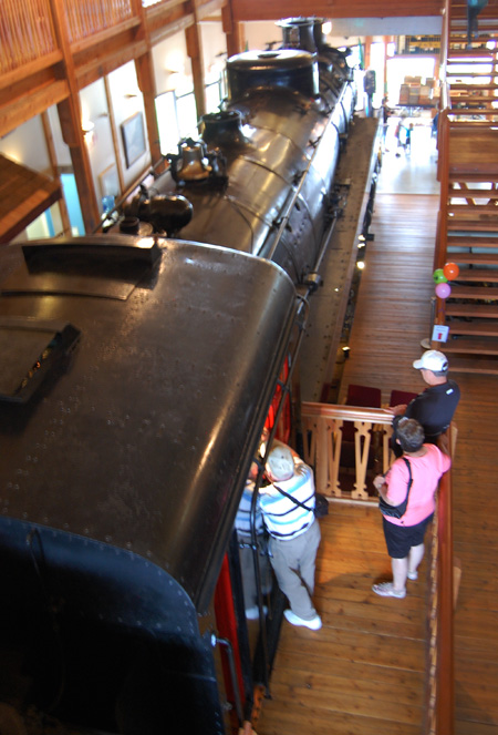 Visitors to the museum explored every nook and cranny, including the cab of the magnificent Mikado 5468 steam locomotive. David F. Rooney photo