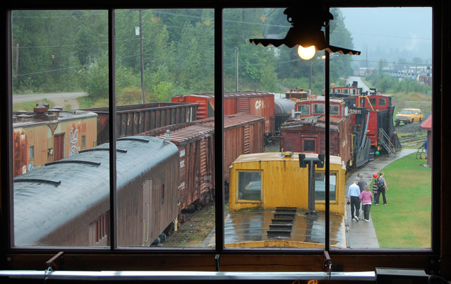 Despite the cool, on-again/off-again rain, visitors enjoyed strolling among the museum's many pieces of rolling stock. David F. Rooney photo