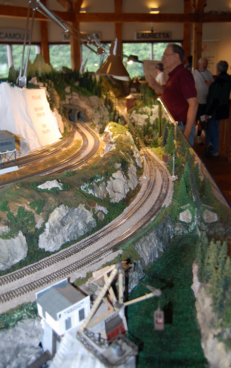The Revelstoke Model Railroad Society has invested thousands of hours in their large table-top model on the museum's second floor. The diorama features hand-made buildings and geographical features such as this model of the long-gone Illecillewaet Power Station that for decades dammed the Illecillewaet River least town. This model, as well as some others that have been incorporated into the display, was made for the society by Patrick Lawes of Victoria. David F. Rooney photo