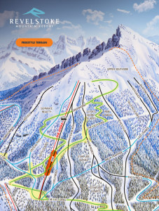 The terrain park's location on RMR's upper mountain. Please click on the image to see a larger version. Image courtesy of Revelstoke Mountain Resort