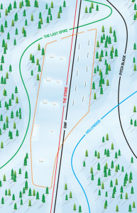 The proposed terrain park layout (not to scale). Please click on the image to see a larger version of it. Image courtesy of Revelstoke Mountain Resort