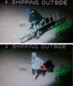 A pair of thieves caused thousands of dollars damage to the RONA/Glacier Building Supplies store when they broke into it and the Bottle Deport late Friday night, July 31, says RCMP Cpl. Thomas Blakney. PLEASE CLICK ON THE IMAGE TO SEE IT IN A LARGER FORMAT. Store surveillance photos courtesy of the Revelstoke RCMP