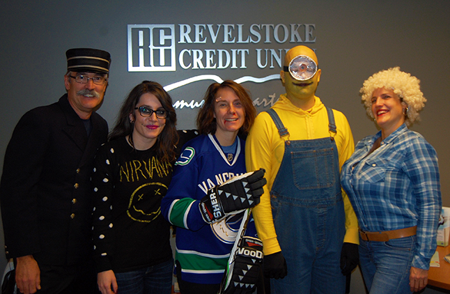 ... there was a Minion in the offices upstairs, along with a VERY busty Dolly Parton, a conductor (That's a real CPR jacket that I understand belonged to Frank's dad. I can't believe he managed to wear that!), a Nirvana fan and an ever-hopeful Canucks player. David F. Rooney photo