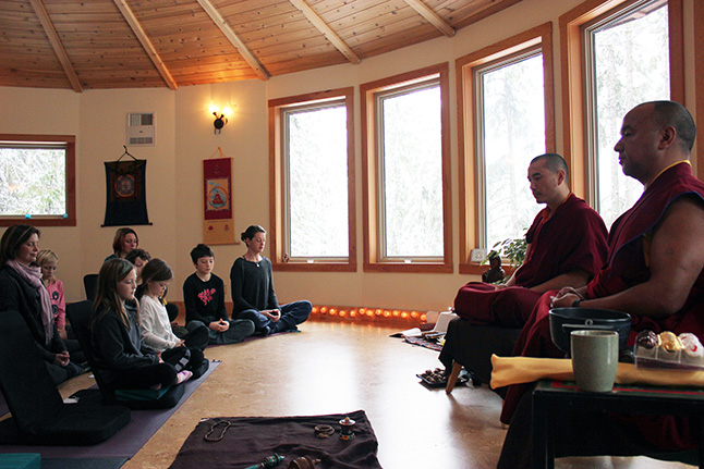 Tenzin and Lama Pema at Monashee Mandala. Photo courtesy of Giles Shearing