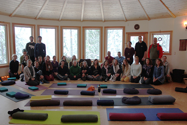Lama Pema with students from the adult class. Photo courtesy of Giles Shearing
