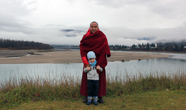Oliver Shearing and Lama Pema during a walk along the banks of the Columbia. Photo courtesy of Giles Shearing