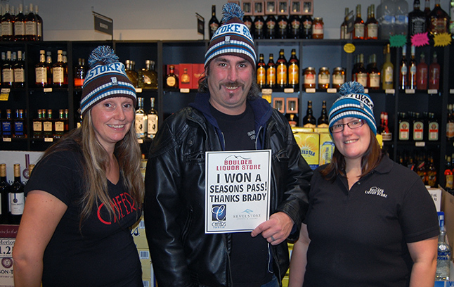 Glen Cherlet was the lucky winner of a season's pass to Revelstoke Mountain Resort in a contest sponsored by Cheers liquor store this autumn. He stopped by the shop on Victoria Road on Wednesday afternoon to pick up the pass and pose for a photo with Cheers Manager Tina Witt (left) and Assistant Manager Ashley Bafaro. Glen's a lucky guy. A few months ago he won a new barbecue. David F. Rooney photo