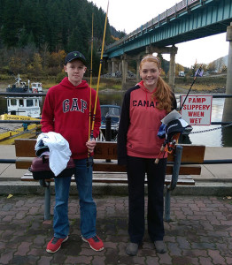 Nicholas and Maddy won the Junior 17 and Under Rainbow Trout Division with 22.5-inch and 22-inch fish, respectively. Please click on the image to see a larger version. Photo courtesy of the fall Shuswap Derby