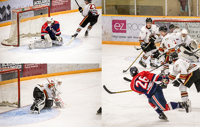 Revelstoke Grizzlies weathered the Storm with relative ease in a 5-2 win over Kamloops on Saturday, as their goalie shut the door with 23 big saves. Jason Portras photo