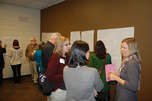Tracy Spannier, Community Librarian Kendra Runnalls and Megan Shandro talk about some of the proposals they heard during the Idea Lab. David F. Rooney photo