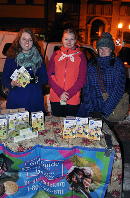 The Girl Guides hit the streets to eat passersby (like me) with boxes of those tasty and iconic cookies. Sam Channell, Alexis Allain and Alex Cole made sure I did not go on my way empty handed. David F. Rooney photo