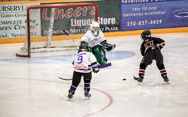 Revelstoke #17 Rylan Cameron broke the ice with the first goal of the game. Jason Portras photo