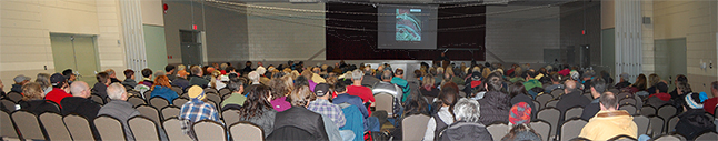 By the time Dean Strachan finished explaining how the zoning process worked there were about 238 bums in the chairs. That was about 12 minutes after this photo was taken. Please click here to see a larger version of this image. David F. Rooney photo