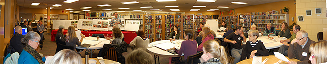 Dozens of ideas about possible new directions for the Okanagan Regional Library to take in the years ahead frothed to the surface as 30 people brainstormed together during Wednesday evening's Idea Lab at the Revelstoke branch. Please click on this photo to a see fill-sized version of the image. David F. Rooney photo