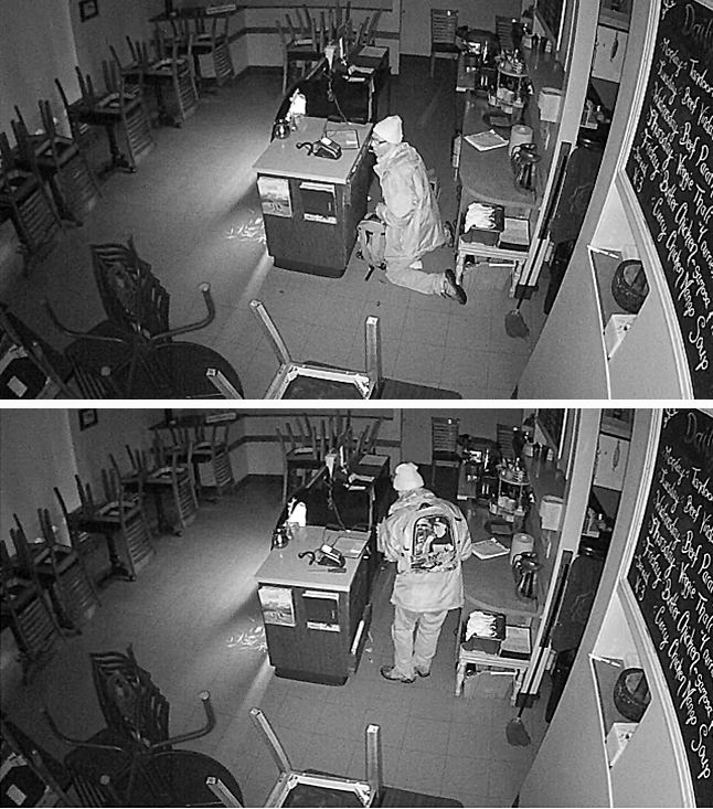"Does anyone recognize this guy in the photos? If you do please call the RCMP. According to a statement posted on the Revelstoke Crime Stoppers website ""sometime between 9 pm on Monday October 26… and 9:30 am on Tuesday October 27… an unknown culprit broke into the Paramjit's Kitchen located at 116 First Street West in Revelstoke, BC and stole cash. "" The restaurant's closed-circuit TV captured these still images of the culprit. The local RCMP detachment is asking your help in identifying the culprit and take note of the distinctive jacket worn by the culprit. This man is believed to be in his mid-40s wearing prescription glasses, la ight colored toque, backpack, running shoes, and a long distinctive overcoat with a silk screen image on the back with light colored pants. If you have any information about this break and enter or knowledge of any other criminal act, please contact the Revelstoke RCMP at 250-837-5255 or Crime Stoppers at 1-800-222-8477 or visit their website at www.revelstokecrimestoppers.ca. Please click the link below to go directly to the www.revelstokecrimestoppers.ca website. Photos courtesy of Revelstoke Crime Stoppers"