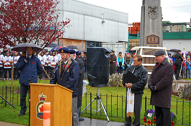 Todd Driediger, president of the Royal Canadian Legion Branch 46, addresses the crowd. David F. Rooney photo