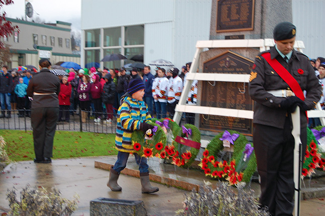 Young Cooper Horning of Columbia Park Elementary was one of the children from our local schools who laid wreaths at the cenotaph on behalf of their schools. David F. Rooney photo