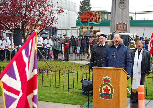 Blain Mack sings God Save the Queen at the conclusion of our Remembrance Day ceremony. David F. Rooney photo