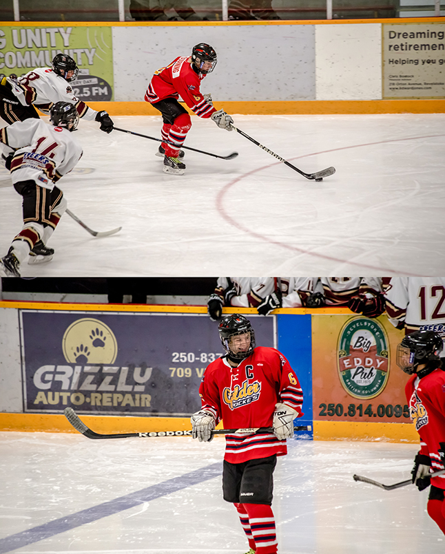 Rockets #6 Daton Durning dominated the Grizzlies and earned a hat-trick for it. Jason Portras photo