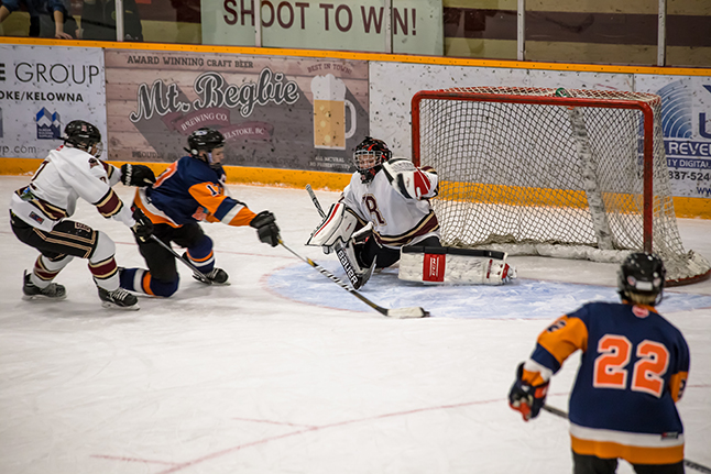 Rockies #17 Dace Prymak scores the tying goal to make the score 6-6 in the final minutes of the Third Period. Jason Portras photo