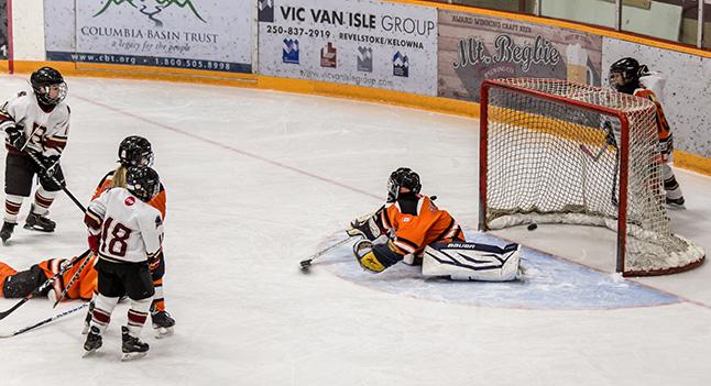 One of Sawyer Grimm's goals sneaks past Warrior Goalie Noah Elliott-Adams. Jason Portras photo