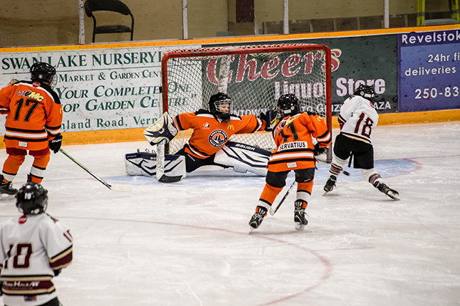 He shoots, he scores! Donald Robichaud nets the first goal of the game. Jason Portras photo