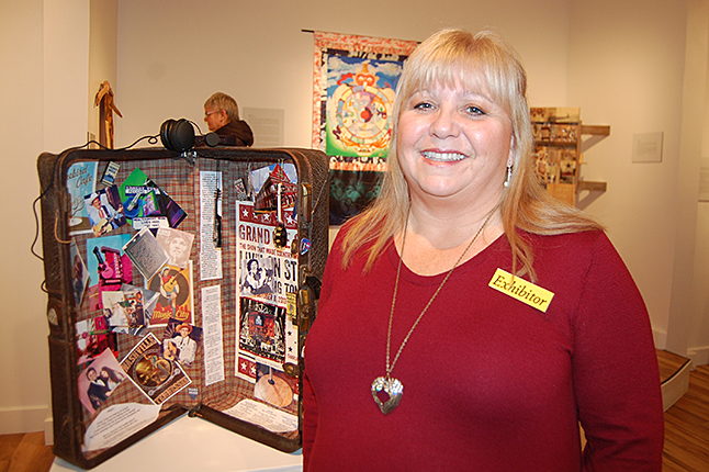 Joanne Stacey poses with her musically themes piece. David F. Rooney photo