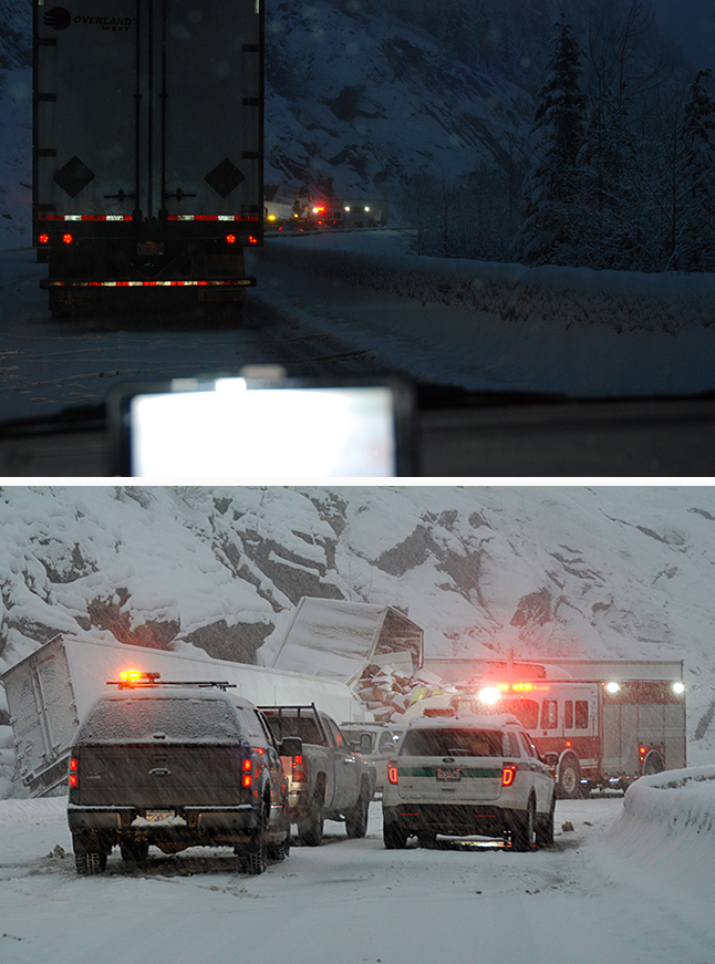 A collision involving to transport trucks near the Wolsey Creek Bridge on the Trans-Canada 35 kilometres East of town at about 6 am Tuesday, November 17, resulted in the death of one man and the hospitalization of two others. Meanwhile, the Mounties' investigation at the scene yielded a large quantity of marijuana being transported in one of the trucks. The top photo gives you a clear idea of what the conditions were like shortly after the accident. The bottom photo shows the approach to the accident scene. William Ottewell photo