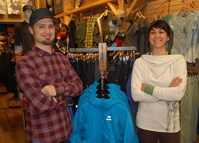 Valhalla Pure's Angus Fraser and Emma Mathieson pose with one of their coat racks. The shop owners have started a cool little campaign to help people in need this winter. If you bring in a gently-used coat in good condition they'll give you a $25 gift card with the purchase of a new jacket or coat. You could also win an Arc'teryx Atom LT Hoody. lease click on the kink below to see their poster or drop by the shop at 213 Mackenzie. David F. Rooney photo