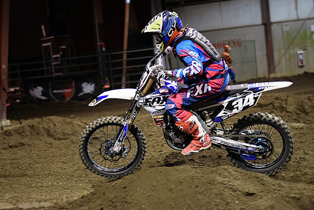 Devin Archer, #34, tore up the track on his Yamaha YZ250f with a 5th place overall finish in the Open Beginner class. Joel Chevrier photo