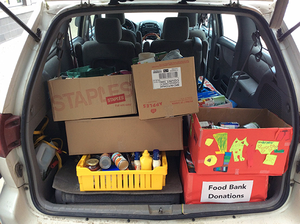 Lots of food donations on their way to the Food Bank. Photo courtesy of Eleanor Wilson