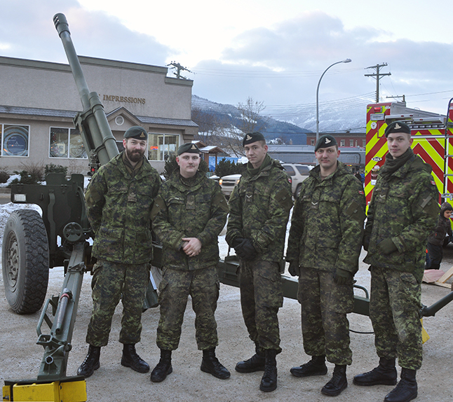 Members of the Royal Canadian Artillery and the Royal Canadian Horse Artillery brought one of their 105-mm howitzers to the Railway Yard to show to the public. This artillery piece is used to safely trigger avalanches in Rogers Pass. David F. Rooney photo
