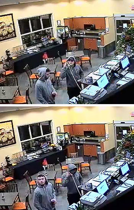 Revelstoke Crime Stoppers is asking if anyone recognizes either of the men in this photo. According to the RCMP a man poured a glass of juice on their front desk keyboard at the Days Inn Hotel located at 301 Wright Street at about 10:45 pm on Monday, December 7. This senseless act caused damage to the keyboard. The man was accompanied by another adult male. They appeared to be in their 20s and were both wearing grey hoodies and shorts. If you have any information about this property damage or any other criminal act, please contact the Revelstoke RCMP at 250-837-5255 or Crime Stoppers at 1-800-222-8477. You can also visit the Crime website at www.revelstokecrimestoppers.ca. Surveillance photos courtesy of the Revelstoke RCMP