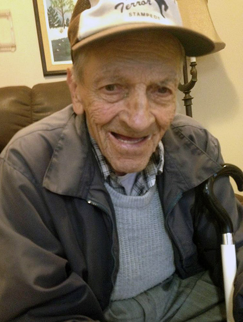 Mr. Martin Berghi passed away in Palliative Care at Mount Cartier Court in Revelstoke on Monday, December 7, 2015, at the age of 89 years. There will be no formal funeral service by Martin's own request. Martin was born in Pola, Italy, on February 7, 1926, and was a longtime resident of Revelstoke. Many in Revelstoke will remember Martin as the kind, quiet, blind man that walked throughout the community on a daily basis. Cremation arrangements are in the care of Brandon Bowers Funeral Home, Revelstoke. Photo courtesy of the Berghi family