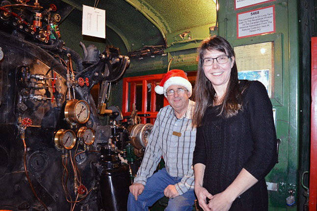 Museum director Jim Walford and Executive Director Jennifer Dunkerson show one of the engines on display at the Railway Museum. Walford retired as a locomotive engineer after 31 years working for the railway. He has been involved with Revelstoke heritage projects in many ways, in addition to supporting the Railway Museum. He is on the Revelstoke Heritage Commission and lives in a heritage house, built in 1904. Laura Stovel photo