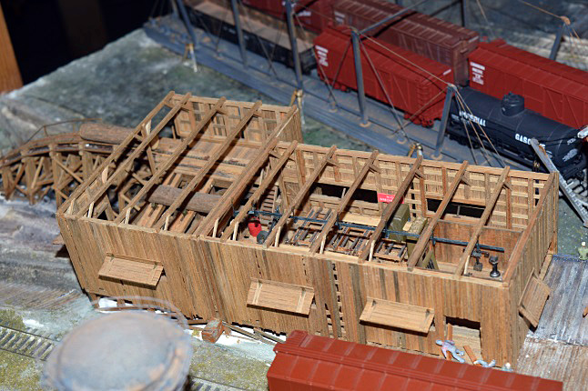 Here's a view inside the sawmill model that gives you a pretty clear view of he diorama creator's superlative attention to detail. Laura Stovel photo