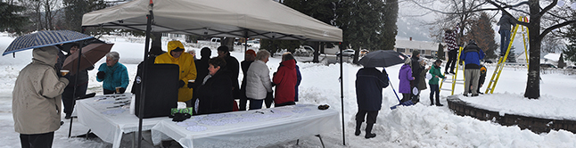 It might have been raining lightly but that certainly didn't deter about 30 people from going to Queen Elizabeth Park on Sunday afternoon for the Hospice Society's annual Snowflake Ceremony where we remember the people we love who have left this world.