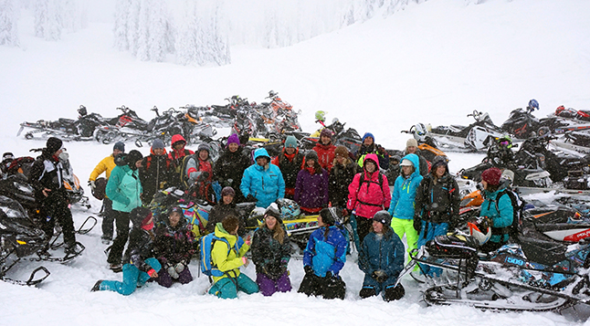 Women and girls came out last weekend for the first ever La Niña Charity Ride. Photo courtesy of the Revelstoke Snowmobile Society