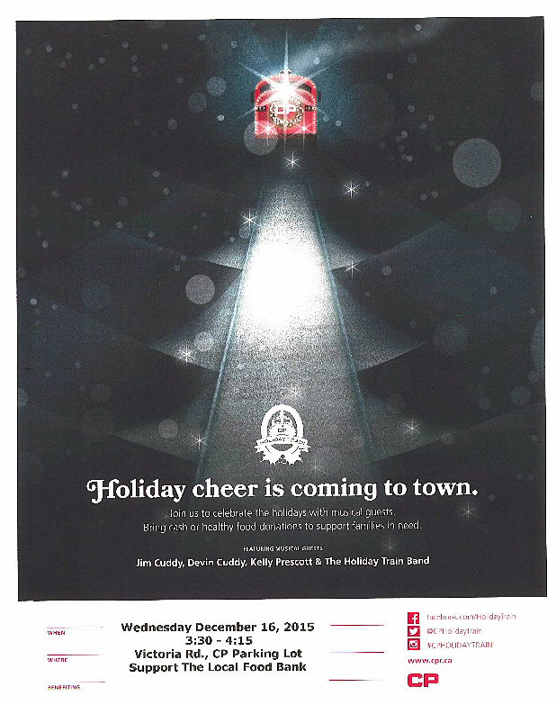A little reminder from CP Rail about the annual Holiday Train. It rolls into the rail yard at about 3:30 this afternoon.