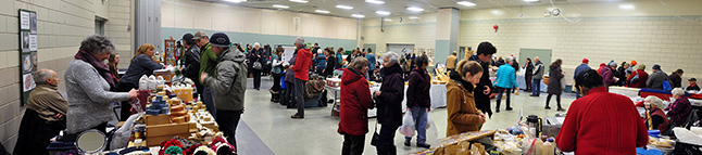 The last Winter Market of 2015 was held at the Community Centre on Thursday, December 17, and attracted a good crowd of Revelstokians hunting for great foods and potential gifts. The market will enter a three-year hiatus and will resume on January 7. David F. Rooney panorama photo